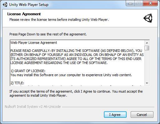 Стартовое окно установки Unity Web Player