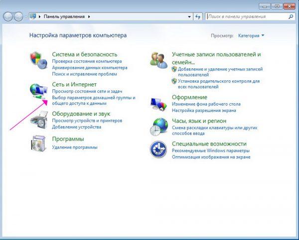 Раздел «Сеть и Интернет» в «Панели управления»