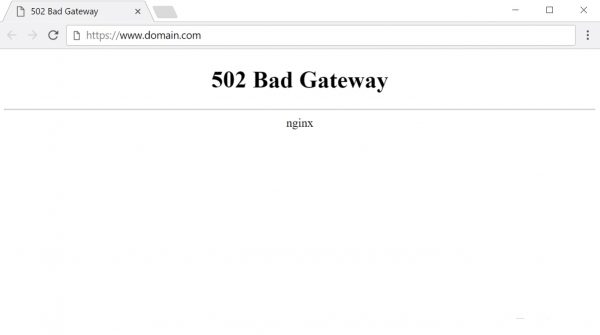 Окно ошибки 502 Bad Gatewey