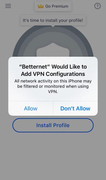 Разрешить доступ Betternet