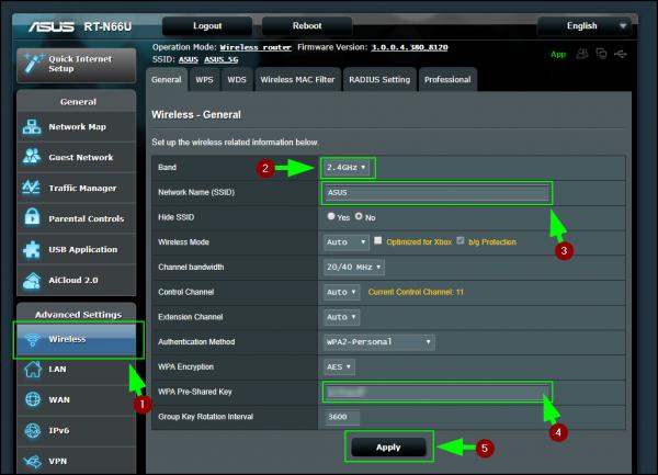 Интерфейс панели администратора роутеров Asus