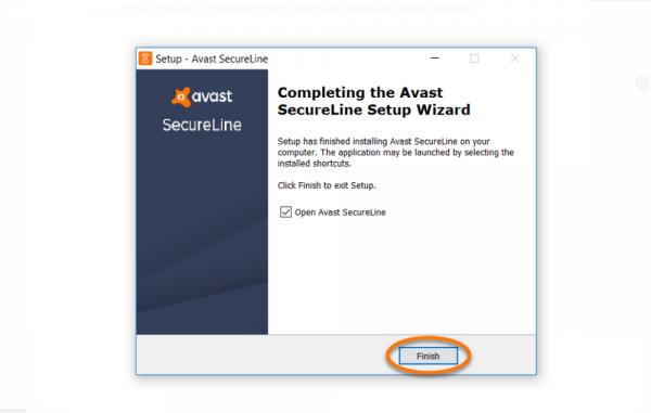 Завершение установки Avast SecureLine VPN