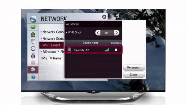 Включение функции Wi-Fi Direct на телевизоре