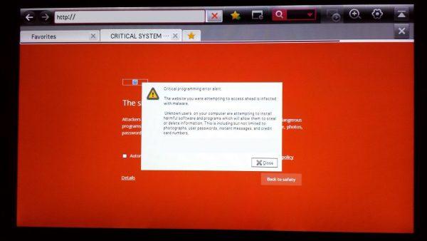 Ошибка запуска веб-браузера на LG Smart TV
