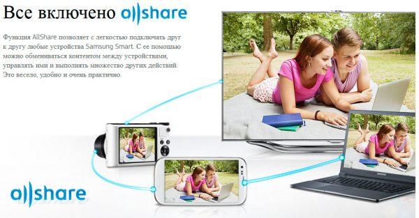 Функция AllShare объединяет все девайсы, подключенные к одной сети