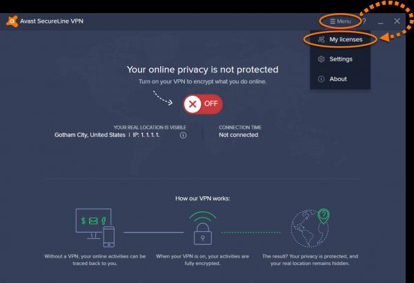 Пункт «Мои лицензии» в меню Avast