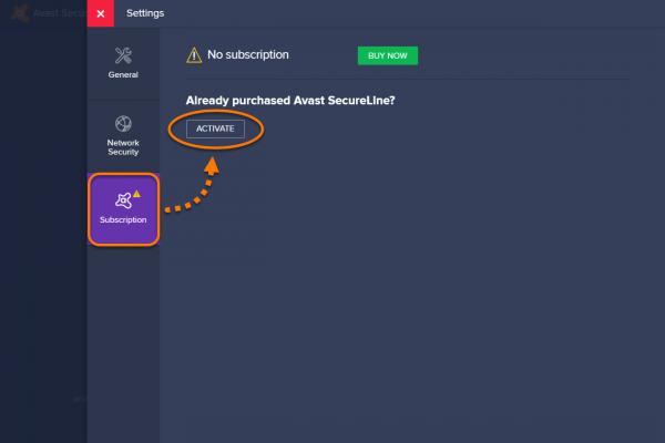 Раздел «Подписка» в Avast