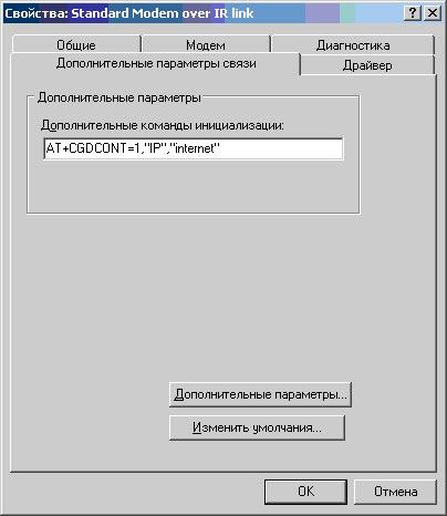 Дополнительные параметры связи