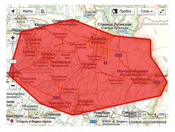 Карта покрытия сети «Лугаком»