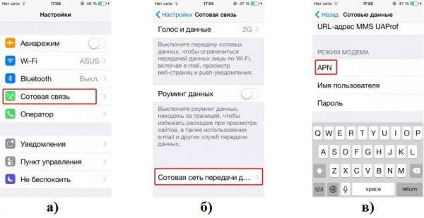 Настройка мобильного интернета «Лугаком» на телефоне iOS