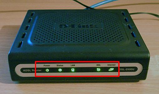 Внешний вид рабочего ADSL роутера на примере DSL-2500U