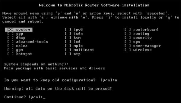 Сброс версии RouterOS