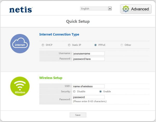 Веб-интерфейс Netis