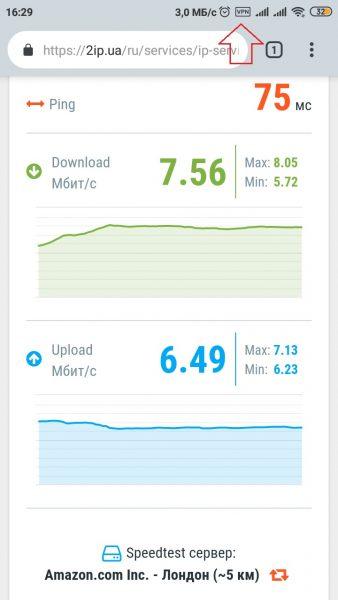 Тест скорости VPN Master