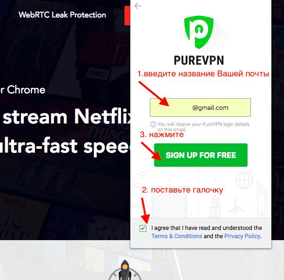 Ввод данных PureVPN