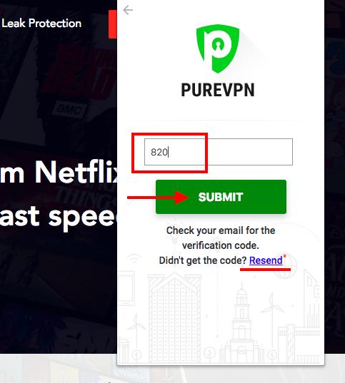 Ввод кода подтверждения PureVPN