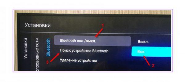 Включение функции Bluetooth