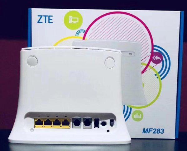 Роутер ZTE MF283 на фоне упаковочной коробки