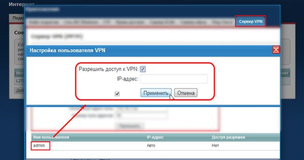 Окно «Настройка пользователя VPN» с разрешением на доступ для администратора