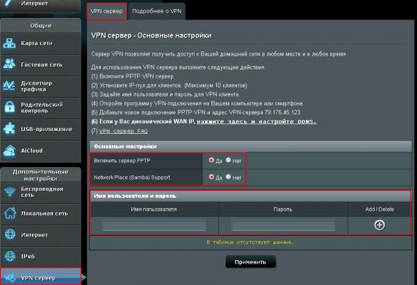 Вкладка «VPN-сервер» в админ-панели роутера Asus