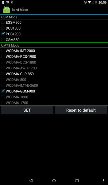Выбор нужных диапазонов сети в инженерном меню Android