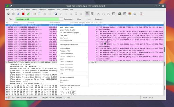Анализ ЛС с помощью Wireshark