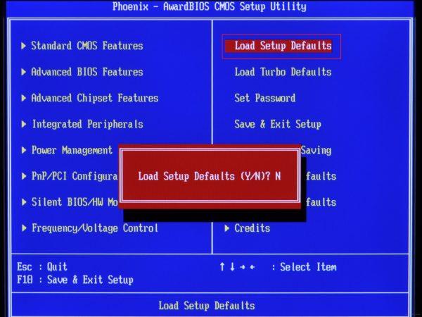 Как сбросить установки BIOS до заводских