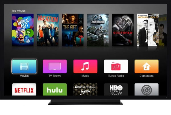 Экран приставки Apple TV с доступными приложениями